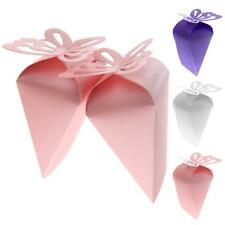 50x Triangle Laser Cut Butterfly Cake Candy Gift Box Wedding Party Favor Boxes