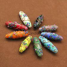 5pcs Delicate Charms Colored Glaze Flower Carved DIY Beads Pendants Jewelry