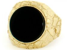 10k / 14k Solid Yellow Gold Nugget Round Onyx Mens Ring