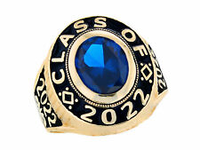 10k or 14k Gold Simulated September Birthstone 2017 Graduation Mens Class Ring