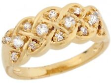 10k / 14k Yellow Gold White CZ Celtic Woven Eternity Band Ladies Ring