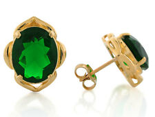 10k or 14k Yellow Gold Simulated Emerald Stylish May Birthstone Post Earrings