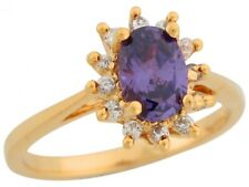 10k or 14k Yellow Gold Simulated Amethyst White CZ Accent Stones Princess Ring