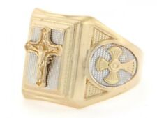 10k / 14k Two Tone Gold Religious Crucifix Cross Mens Ring