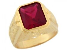 10k or 14k Yellow Gold Simulated Ruby Thick Bold Nugget Designer Mens Ring