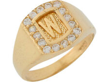 10k or 14k Yellow Gold White CZ Block Letter W Initial Mens Brilliant Ring