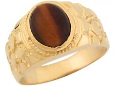 10k or 14k Yellow Gold Synthetic Tigers Eye Nugget Styled Band Mens Ring