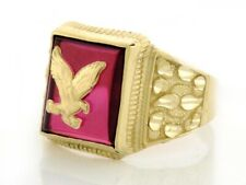 10k or 14k Solid Yellow Gold Mens Simulated Ruby Eagle Ring