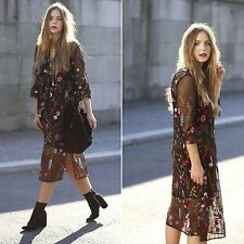 ZARA Woman BNWT Authentic Black Long Sheer Embroidered Floral Dress 3440/246
