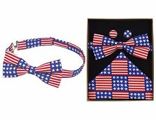 Stars & Stripes United States Themed Bow Tie Cufflink Pocket Square Boxed Set