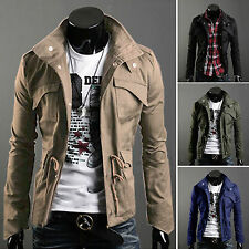 Mens Boys Hooded Slim Fit Military Coat Jacket Winter Warm Hoodie Collar Outwear