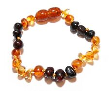Genuine Baltic Amber Baby Anklet Bracelet for Child Mixed Beads 5.5 - 5.9 in