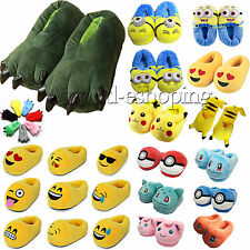 Cartoon Animal Winter Warmer Indoor Home Slippers Anti-Slip Plush Flats Shoes