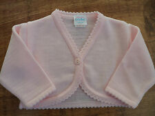 New Baby Girls Plain Pink Kinder Bolero Cardigan. Sizes N/B to 24 Months