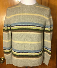 J. CREW Womens Sweater Large 100% Wool Striped Long Sleeves EUC