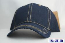 NWT Men's Denim Navy Blue Cap / Hat Baseball Style Adjustable Back WHOLESALE LOT