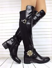 LADIES BLACK FLAT OVER THE KNEE WOMENS HIGH ZIP STRETCH ELASTIC WINTER BOOTS 5