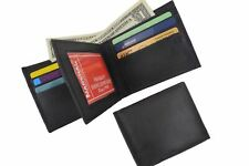 Genuine Leather Bifold Center Flap Lambskin Wallet with ID and Credit Card