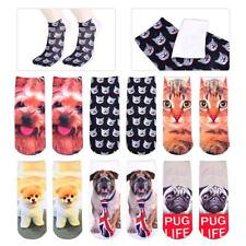 3D Printed Animal Dog Cat Ankle Socks Low Cut Cute Lovely Casual Boy Girl Cotton