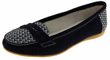 Womens Navy Blue Suede Leather Loafers Shoes Ladies COOLERS Slip On Flats Size 7