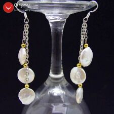 Big 12-13mm White Coin Round 3 PCS Natural Freshwater Pearl dangle Earring-ea492