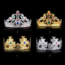 New  Royal Crown King Queen Gold Sliver Jewels Halloween Medieval Costume Hat