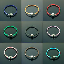 Braided real leather charm bracelets stainless steel clasp for charms beads