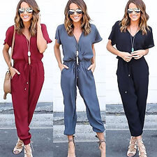 Womens V Neck Short Sleeve Playsuit Summer Party Romper Long Trousers Jumpsuit