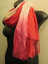 LOT: 2 Vtg SIMON CHANG Crinkle Silk Ombre Long SCARF Rose Pink CASHMERE PASHMINA