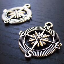 Compass Charm - Wholesale Antiqued Silver Plated Pendants C8557 - 5, 10 Or 20PCs