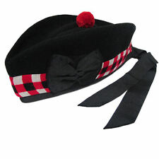 Diced Glengarry Wool Piper Hat 4 Kilts Army Bagpipe