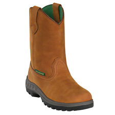 John Deere Youth Boys Tan Leather Waterproof Pull-On Cowboy Work Boots