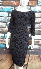 MONSOON FRAN BLUE / BLACK FLOCKED RUCHED DRESS RRP £99 Sizes 12,14,16,22