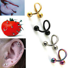 Fgy 2pcs Stainless Steel Spiral Ear Stud Lip  Eyebrow Ring Body Piercing Jewelry