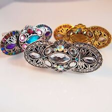 Vintage Full Finger Armour Joint Knuckle Ring Silver Gold Blue Multi Ladies
