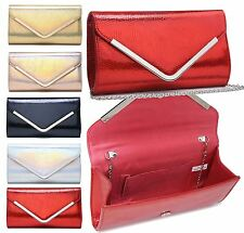 NEW WOMENS SNAKESKIN STYLE PATENT LEATHER CLUTCH SHOULDER STRAP EVENING PURSE