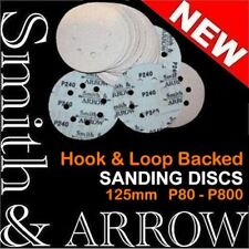 "50x 125mm 5"" HOOK & LOOP SANDING DISCS 8 HOLE SANDPAPER ORBITAL SANDER PLASTER #"