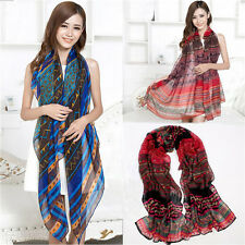 Retro Women's Girls Long Bohemian Voile Soft Scarf Large Shawl Scarves New t38\