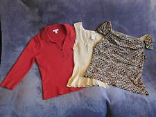 WORTHINGTON/CHARTER CLUB LOT: 3 Career/Casual M/L Knit Stretch Tops inclAnimal