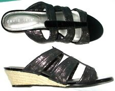 NEW womens DAVID TATE sandals OLEY slides wedge heel 8 8.5 Black Patent Pewter