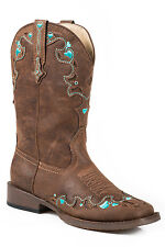 Roper Hearts Kids Brown Faux Leather Western Crystals Boots