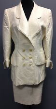 ESCADA COUTURE Ivory Polka Dot Textured Double Breasted Skirt Suit Sz 40 CC 065