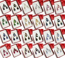 SET 12 colours Swarovski Elements Crystal Pear Earrings Necklace Chain PENDANT