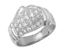 925 Sterling Silver Solid Mens Gents Boxing Glove Ring Cubic Zirconia 6.20gr NEW