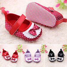 Baby Infant Girls Soft Sole Shoes Bowknot Party Pram Loafers Prewalker Trainers