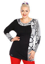 Women Plus Size/For Curves Tunic with Long Sleeve O-Neck Black and White Top