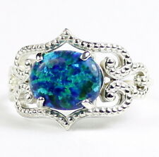 Created Blue Green Opal, 925 Sterling Silver Ladies Ring-Handmade, SR367