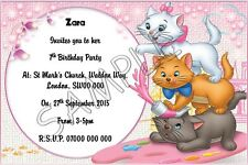 Aristocats Personalised Kids Party Invitations Thank You Cards A6 Glossy + Env