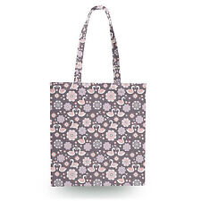 Romantic Swans & Flowers Canvas Tote Bag - 16x16 inch Book Gym Bag Optional Zip