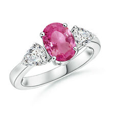 Three Stone Oval Natural Pink Sapphire and Diamond Ring 14k White Gold